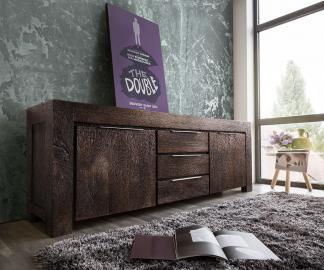 DELIFE Sideboard Blokk 220 cm Akazie Tabak 2 Türen 3 Schübe, Sideboards