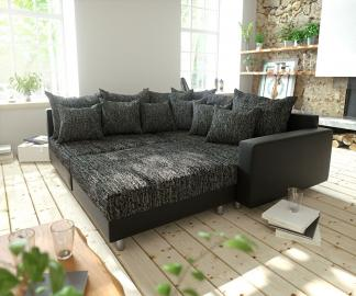 DELIFE Ecksofa Clovis Schwarz modular Hocker Armlehne Ottomane Rechts, Design Ecksofas, Couch Loft, Modulsofa, modular