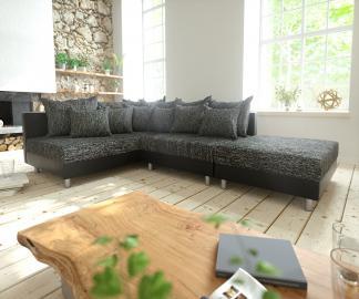 DELIFE Ecksofa Clovis Schwarz Modulsofa Hocker Ottomane Links, Design Ecksofas, Couch Loft, Modulsofa, modular