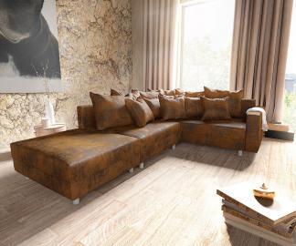 DELIFE Ecksofa Clovis Braun Antik Optik modular Hocker Armlehne Ottomane Rechts, Design Ecksofas, Couch Loft, Modulsofa, modular