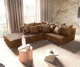DELIFE Ecksofa Clovis Braun Antik Optik Hocker Ottomane Links Modulsofa, Design Ecksofas, Couch Loft, Modulsofa, modular