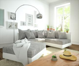DELIFE Ecksofa Clovis Weiss Hellgrau Hocker Ottomane Rechts modular, Design Ecksofas, Couch Loft, Modulsofa, modular