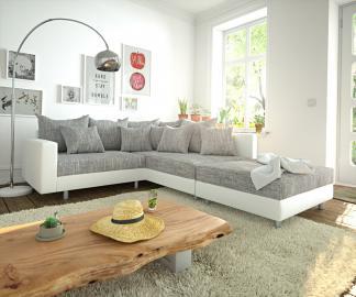 DELIFE Ecksofa Clovis Weiss Hellgrau modular Hocker Armlehne Ottomane Rechts, Design Ecksofas, Couch Loft, Modulsofa, modular
