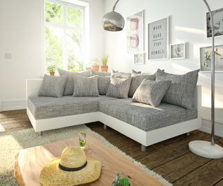 DELIFE Ecksofa Clovis Weiss Hellgrau Ottomane Links Modulsofa, Design Ecksofas, Couch Loft, Modulsofa, modular