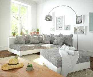 DELIFE Ecksofa Clovis Weiss Hellgrau Modulsofa Hocker Ottomane Links, Design Ecksofas, Couch Loft, Modulsofa, modular