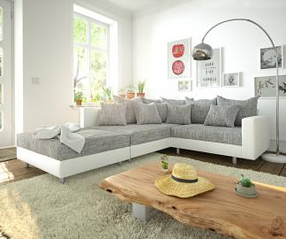 DELIFE Ecksofa Clovis Weiss Hellgrau Hocker Armlehne Ottomane Links Modulsofa, Design Ecksofas, Couch Loft, Modulsofa, modular
