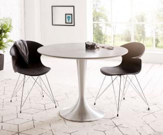 DELIFE Esstisch Charo 100x100 Grau rund Beton Gestell Aluminium, Esstische