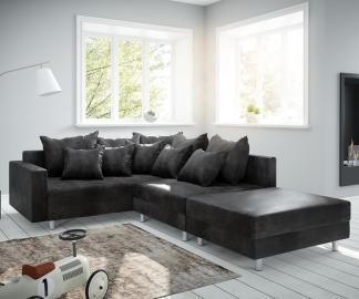 DELIFE Ecksofa Clovis Anthrazit Antik Optik modul Hocker Armlehne Ottomane Links, Design Ecksofas, Couch Loft, Modulsofa, modular