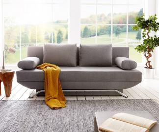 DELIFE Schlafsofa Cady 200x90 cm Grau Couch mit Schlaffunktion, Schlafsofas