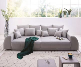 DELIFE Big-Sofa Violetta 310x135 cm Grau abgesteppt mit Kissen, Big Sofas