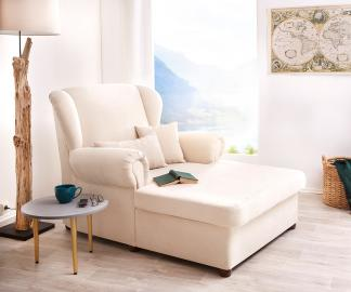 DELIFE Sessel Lionardo 120x160 cm Beige Lounge Chair mit Kissen, Relaxsessel