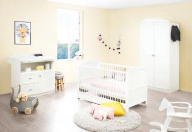 Komplett Kinderzimmer LAURA, 3-tlg. (Kinderbett, Wickelkommode und 2-türiger Kleiderschrank), weiß Gr. 70 x 140