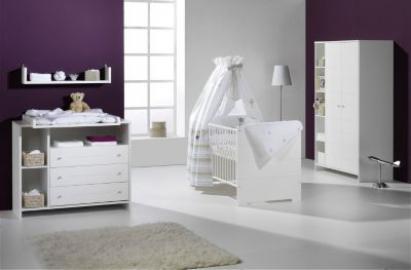 Komplett Kinderzimmer ECO STRIPE, 3-tlg. (Kinderbett, Wickelkommode und 2-türiger Kleiderschrank mit Seitenregal), weiß Gr. 70 x 140