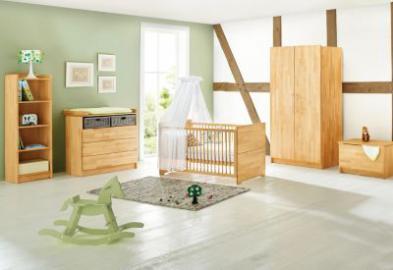 Komplett Kinderzimmer NATURA, 3-tlg. (Kinderbett, Wickelkommode breit und 2-türiger Kleiderschrank), FSC®-zertifizierte Buche vollmassiv, geölt holzfarben Gr. 70 x 140