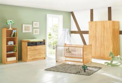 Komplett Kinderzimmer groß NATURA, 3-tlg. (Kinderbett, Wickelkommode breit und 3-türiger Kleiderschrank), FSC®-zertifizierte Buche vollmassiv, geölt holzfarben Gr. 70 x 140