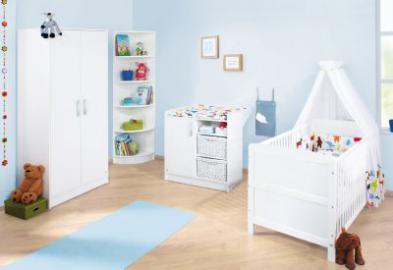 Komplett Kinderzimmer VIKTORIA, 3-tlg. (Kinderbett, Wickelkommode und 2-türiger Kleiderschrank), Weiß weiß Gr. 70 x 140