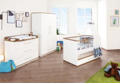 Komplett Kinderzimmer TUULA groß, 3-tlg. (Kinderbett, Wickelkommode breit und 2-türiger Kleiderschrank), Nussbaum/Weiß weiß Gr. 70 x 140