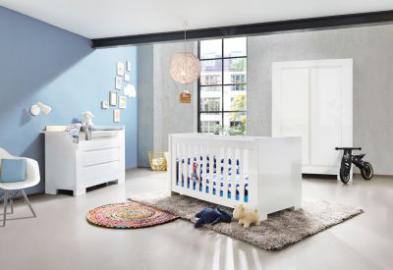 Komplett Kinderzimmer SKY groß, (Kinderbett, Wickelkommode breit und 2-türiger Kleiderschrank), Weiß/Hochglanz weiß Gr. 70 x 140