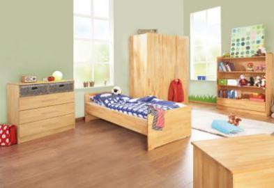 Jugendzimmer NATURA groß, 3-tlg. (Jugendbett, Kommode und 3-türiger Kleiderschrank), FSC®-zertifizierte Buche vollmassiv, geölt holzfarben Gr. 90 x 200
