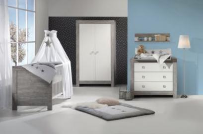 Komplett Kinderzimmer NORDIC DRIFTWOOD, 3-tlg. (Kinderbett + US, Wickelkommode und 2-türiger Kleiderschrank), Drift Wood/weiß grau Gr. 70 x 140
