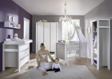 Komplett Kinderzimmer MILANO PINIE, 3-tlg. (Kinderbett + US, Wickelkommode und 3-türiger Kleiderschrank), Pinie silberfarbig/weiß Gr. 70 x 140