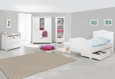 Komplett Jugendzimmer NINA groß, 3-tlg. (Jugendbett, breite Kommode und großer 2-türiger Kleiderschrank mit Mittelregal), massiv/Weiß lasiert weiß Gr. 90 x 200
