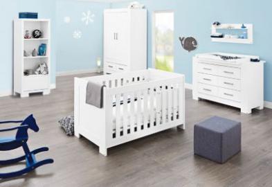 Komplett Kinderzimmer ICE groß, (Kinderbett, Wickelkommode breit und 2-türiger Kleiderschrank), weiß edelmatt Gr. 70 x 140