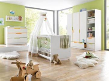 Komplett Kinderzimmer FRESH, 3-tlg. (Kinderbett, breite Wickelkommode und 3-türiger Kleiderschrank), Weiß/Bunt weiß Gr. 70 x 140