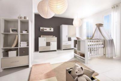 Komplett Kinderzimmer CANDY, 3-tlg. (Kinderbett, Umbauset, Wickelkommode und 3-türiger Kleiderschrank), weiß/beige/grau Gr. 70 x 140
