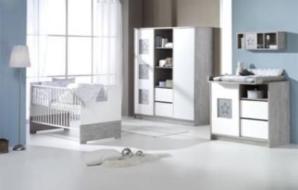 Komplett Kinderzimmer ECO STAR, 3-tlg. (Kinderbett, Umbauseiten, Wickelkommode und 2-türiger Kleiderschrank mit Mittelregal), Driftwood/weiß Gr. 70 x 140