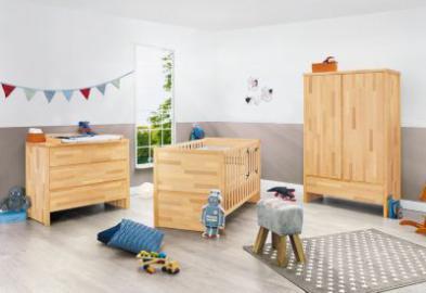 Komplett Kinderzimmer FAGUS, (Kinderbett, Wickelkommode breit und 2-türiger Kleiderschrank), FSC®-zertifizierte Buche vollmassiv, geölt holzfarben Gr. 70 x 140