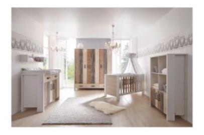 Komplett Kinderzimmer WOODY, 3-tlg. (Kinderbett, Umbauseiten, Wickelkommode und 3-türiger Kleiderschrank) holzfarben Gr. 70 x 140