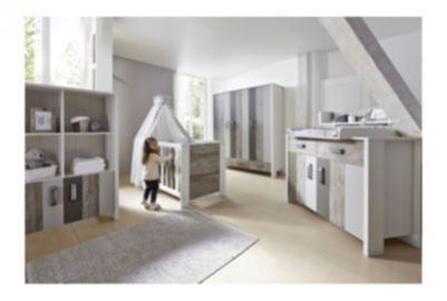 Komplett Kinderzimmer WOODY GREY, 3-tlg. (Kinderbett, Umbauseiten, Wickelkommode und 3-türiger Kleiderschrank) grau Gr. 70 x 140