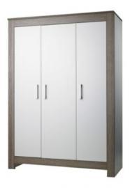 Kleiderschrank MARLENE , Wenge Lehm/Weiß, 3-türig weiß