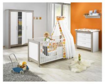 Komplett Kinderzimmer MARLENE, 3-tlg. (Kinderbett, Wickelkommode und 3-türiger Kleiderschrank), Wenge Lehm/Weiß weiß Gr. 70 x 140