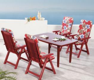 9-tlg. Garten Sitzgruppe ´´Elisa Flora´´ rot