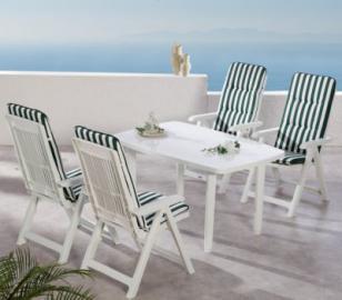 9-tlg. Garten Sitzgruppe ´´Elisa Streifen´´ grün/weiß