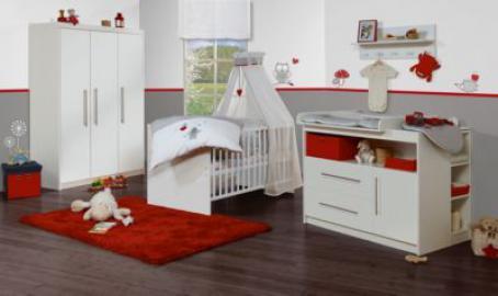 Komplett Kinderzimmer MAREN, 3-tlg. (Kinderbett, Wickelkommode breit und 3-türiger Kleiderschrank), Weiß weiß Gr. 70 x 140