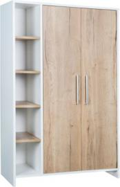 Kleiderschrank Eco Plus 2-trg. mit Seitenregal, weiß/Halifax Eiche holzfarben