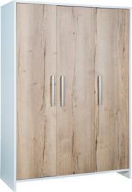 Kleiderschrank Eco Plus 3-trg., weiß/Halifax Eiche holzfarben