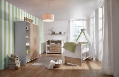 Komplett Kinderzimmer Eco Plus, 3 tlg., (Kinderbett, Wickelkommode und Kleiderschrank 2-trg.), weiß/Halifax Eiche holzfarben Gr. 70 x 140