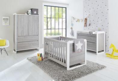 Komplett Kinderzimmer CURVE, (Kinderbett, breite Wickelkommode und Kleiderschrank 2-trg.), Esche grau Gr. 70 x 140
