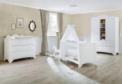 Komplett Kinderzimmer PINO, (Kinderbett, Wickelkommode und Kleiderschrank 2-trg.), Kiefer weiß lasiert Gr. 70 x 140