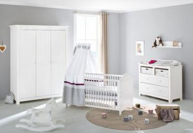 Komplett Kinderzimmer NINA breit, (Kinderbett, Wickelkommode breit und Kleiderschrank 3-trg.), Fichte weiß lasiert Gr. 70 x 140