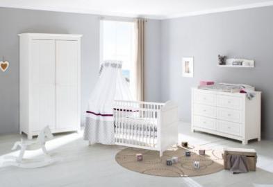Komplett Kinderzimmer NINA extrabreit, (Kinderbett, Wickelkommode extrabreit und Kleiderschrank 2-trg.), Fichte weiß lasiert Gr. 70 x 140