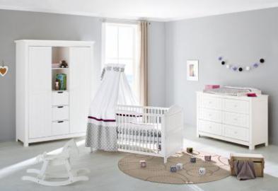 Komplett Kinderzimmer NINA extrabreit/groß, 3-tlg., Fichte weiß Gr. 70 x 140