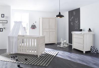 Komplett Kinderzimmer LINE breit, 3-tlg., MDF Eiche grau Gr. 70 x 140
