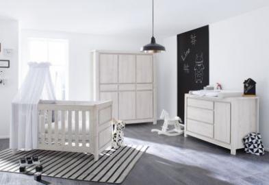 Komplett Kinderzimmer breit LINE, 3-tlg., Eiche MDF grau Gr. 70 x 140
