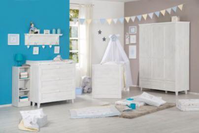 Komplett Kinderzimmer SARAH, 3-tlg. (Kinderbett, Wickelkommode und 3-türiger Kleiderschrank), North White weiß Gr. 70 x 140