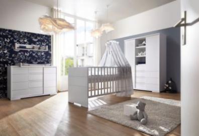 Komplett Kinderzimmer Maxx White (Kombi-Kinderbett 70 x 140 cm, Umbauseiten, breite Wickelkommode und Kleiderschrank 2-trg. mit Mittelregal), Dekor/MDF weiß